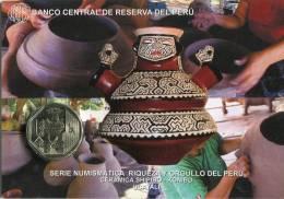 Lote PM2016-2, Peru, 2016, Moneda, Coin, Folder, 1 N Sol, Ceramica Shipibo - Konibo, Indigenous Theme - Perú