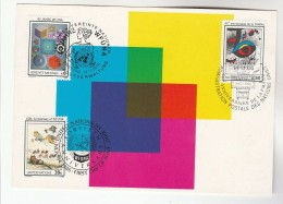 1986 UN - JOINT ISSUE FDC (Maximum Card) GENEVE - NY - VIENNA Stamps  WFUNA United Nations Cover Art Kite Flying Etc - New York/Geneva/Vienna Joint Issues