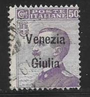 Italy,Occupation Austria, Venezia Giulia, Scott # N28 Used Italy Stamp Overprinted, 1918, One Short Perf - 8. WW I Occupation
