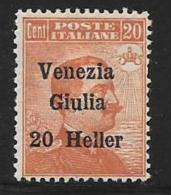 Italy,Occupation Austria, Venezia Giulia, Scott # N32 Mint Hinged Italy Stamp Surcharged, 1918 - 8. WW I Occupation