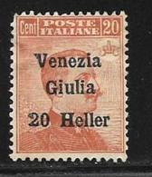 Italy,Occupation Austria, Venezia Giulia, Scott # N32 Unused No Gum Italy Stamp Surcharged, 1918 - 8. WW I Occupation