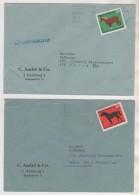 THEME CHEVAUX - CHEVAL DE TRAIT ET CHEVAL DE COURSE - SURTAXE D ALLEMAGNE 1969 SUR 2 ENVELOPPES - A VOIR - Pferde