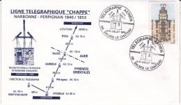 """ENVELOPPE/  LIGNE TELEGRAPHIQUE""""CHAPPE""""NARBONNE PERPIGNAN 1840/1853. - Autres"""