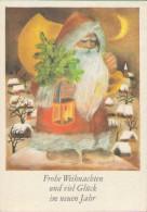 Frohe Weihnachten, Neujahr, Weihnachtsmann Mit Laterne, Künstler-Postkarte, Feiern & Feste - Navidad