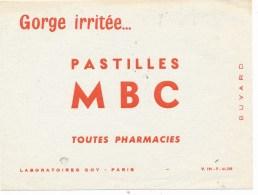 Buvard (format 160x107mm)  - B2270  -Pastilles MBC- Soin Gorge- (non Utilisé)-Envoi Gratuit Pour La France - O