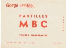 Buvard (format 160x107mm)  - B2271  -Pastilles MBC- Soin Gorge- (non Utilisé)-Envoi Gratuit Pour La France - O