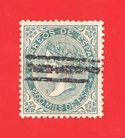 España. Spain. 1868 (o) Edifil 100. Isabel II. 200 Milesimas. Verde - Usati