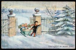 7161 - Alte Glückwunschkarte - Neujahr - Kinder Winterlandschaft Schlitten - WSSB 5853 Künstlerkarte E Frank - Nouvel An