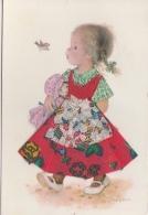 PETITE FILLE, POUPEE, FLEURS, OISEAU - Embroidered