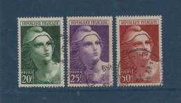 730-731-732 De 1945-47  - Oblitéré - .3 Valeurs - Marianne De Gandon - Gds Formats  - 2 Scannes, Face Et Dos