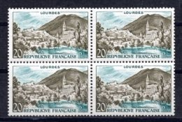 1958 FRANCE LOURDES MICHEL: 1186 BLOCK OF 4 MNH ** - Nuovi