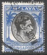 Singapore. 1948-52 KGVI P17½X18. 50c Used. SG 27 - Singapore (...-1959)