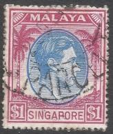 Singapore. 1948-52 KGVI P17½X18. $1 Used. SG 28 - Singapore (...-1959)