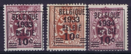 Belgium:  OBP Nr  375A + 375 + 376 MNH/**/postfrisch/neuf Sans Charniere  1933 - Vorfrankiert