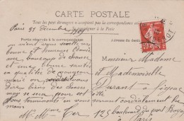 Yvert 138 Semeuse Cachet PARIS 30 Boulevard Diderot 1/1/1910 Jour De L'an Sur Carte Postale Heureuse Année - France
