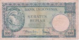 BILLETE DE INDONESIA DE 100 RUPIAH DEL AÑO 1957   (BANKNOTE) - Indonesia