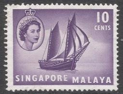 Singapore. 1955-59 QEII. 10c MH. SG 44 - Singapore (...-1959)
