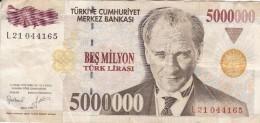 BILLETE DE TURQUIA DE 5000000 LIRASI DEL AÑO 1997   (BANKNOTE) - Turquie