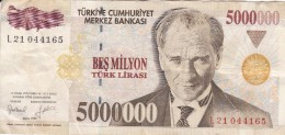 BILLETE DE TURQUIA DE 5000000 LIRASI DEL AÑO 1997   (BANKNOTE) - Turquia