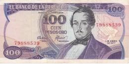 BILLETE DE COLOMBIA DE 100 PESOS DE ORO DEL AÑO 1977   (BANK NOTE) - Colombia