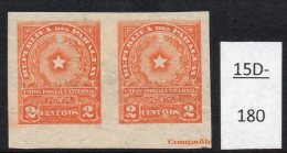 Paraguay 1913 2c Star Imperf Pair MH With Part Of Printer's Imprint. (SG 227 Var)