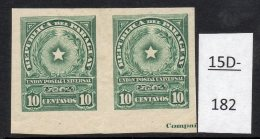 Paraguay 1913 10c Star Imperf Pair MH With Part Of Printer's Imprint. (SG 229 Var)