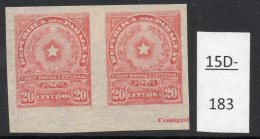 Paraguay 1913 20c Star Imperf Pair MH With Part Of Printer's Imprint. (SG 230 Var)