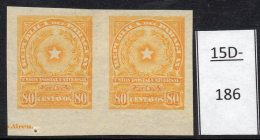 Paraguay 1913 80c Star Imperf Pair MH With Part Of Printer's Imprint. (SG 233 Var)
