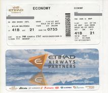 Alt957 Etihad Airways Billets Avion Air Ticket Biglietto Aereo Passenger Abu Dhabi Airport UAE Milano Malpensa Flight - Europe