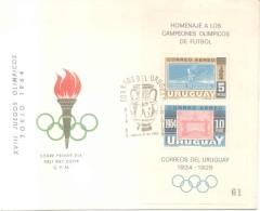 TOKYO TOKIO 1964 JAPAN JAPON OLIMPIADAS OLYMPICS SOBRE FDC FIRST DAY COVER CON RARO BLOQUE NUMERADO URUGUAY