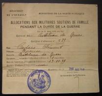 1940 Montpellier Allocations Aux Militaires Soutiens De Famille Pour Mr Cadars Clément (castelnau De Guers) - Historical Documents