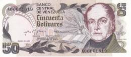 BILLETE DE VENEZUELA DE 50 BOLIVARES DEL AÑO 1981 SERIE A Nº MUY BAJO 1819 (BANKNOTE) SIN CIRCULAR-UNCIRCULATED - Venezuela