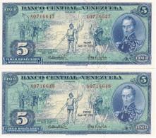 PAREJA CORRELATIVA DE VENEZUELA DE 5 BOLIVARES DEL AÑO 1966 CALIDAD EBC (XF) (BANKNOTE) RARO - Venezuela