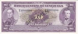 PICK 42 SPECIMEN DE VENEZUELA DE 10 BOLIVARES DEL AÑO 1961 SIN CIRCULAR-UNCIRCULATED (BANKNOTE) MUY RARO - Venezuela