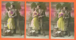 """Suite De 5 CPA Romantiques """" Couple Avec Femme Robe Jaune """" 2 Scans - Couples"""