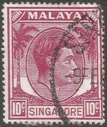 Singapore. 1948-52 KGVI P17½X18. 10c Used. SG 22 - Singapore (...-1959)