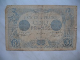 Anciens Billets De CINQ Francs De La Banque De France  1912-1917 - 1871-1952 Circulated During XXth