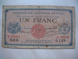 """Chambre De Commerce De Lyon - """" UN Franc """" 424,  3 ème Série,   6 148 - Chamber Of Commerce"""
