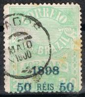 Sello 50 Reis Sobre 20, Jornaes BRASIL 1898, Yvert Num 102 º - Brasil