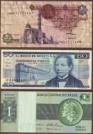 LOT 3 BILLETS : MEXICO-BRASIL-EGYPTE - Coins & Banknotes