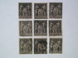 103  Lot De 9 Timbres - 1898-1900 Sage (Tipo III)