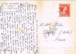 19683. Postal Privé LE ZOUTE (Belgien) 1953. Lineal, Lineaire BOUILLY (aube)  Gare - France