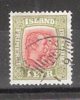 ISLAND / Islande / Iceland 1913  Frederik VIII & Christian IX ;  N° 75 , 1 E Vert  / Rouge , Obl TB Cote 15 E - Oblitérés