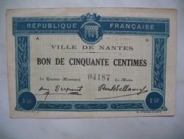 """"""" Bon De Solidarité """" De Cinquante Centimes De La Ville De Nantes - Bons & Nécessité"""