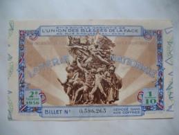 """Loterie Nationale """" Union Des Blessés De La Face """" - """" 2 E Tranche 1936 Billet N° 0.386.263 - France"""