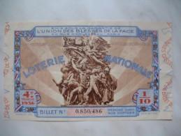 """Loterie Nationale """" Union Des Blessés De La Face """" - """" 4 E Tranche 1936 Billet N° 0.850.486 - France"""