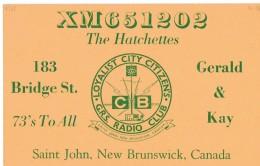 Old QSL From XM651202 The Hatchettes, Bridge St,. Saint John NB Canada 1968 - CB