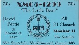 Old QSL From XM65-1299 The Little Bear, David Pettie, Pleasant St East Saint John NB Canada 1969 - CB