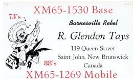 Donkey Mexican Sombrero Guitar Man On QSL From XM65-1530 Barnesville Rebel R. Glendon Tays Saint John NB Canada (1969) - CB