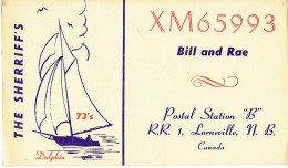 Sailing Ship On QSL From XM65993, Bill & Rae Sheriff Lorneville NB Canada (1969) - CB
